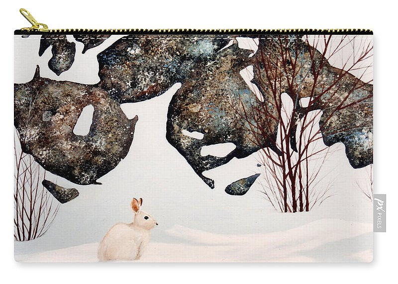 Wildlife Carry-all Pouch featuring the painting Snow Ledges Rabbit by Frank Wilson