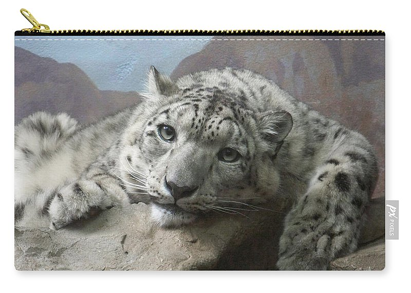 Snow Leopards Carry-all Pouch featuring the photograph Snow Leopard Relaxing by Ernie Echols
