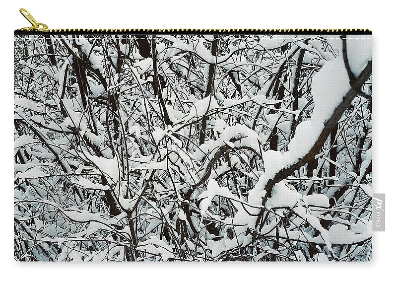 Abstract Carry-all Pouch featuring the photograph Snow On Branches by Ric Bascobert