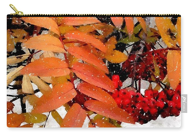 Autumn Carry-all Pouch featuring the painting Snow On Scarlet Magick by RC DeWinter