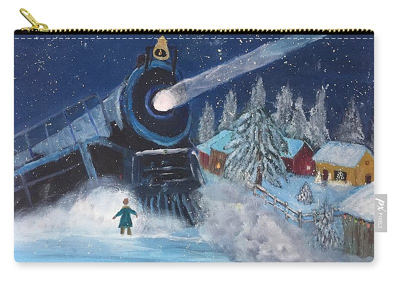 Snow Carry-all Pouch featuring the painting Snow Train by Terry Tuley