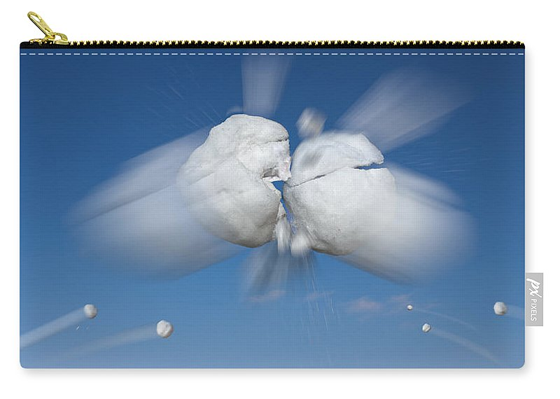 Aerial Carry-all Pouch featuring the photograph Snowball Flight by Steve Gadomski