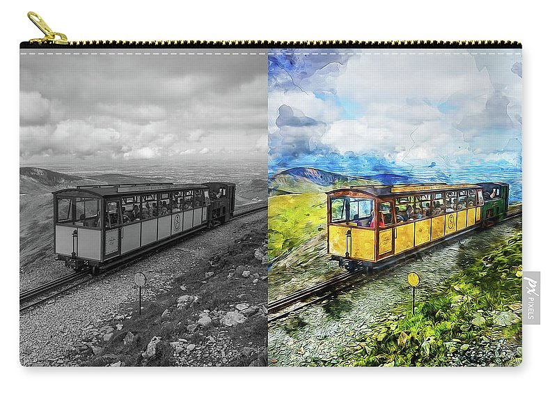 Train Carry-all Pouch featuring the mixed media Snowdon Train by Ian Mitchell