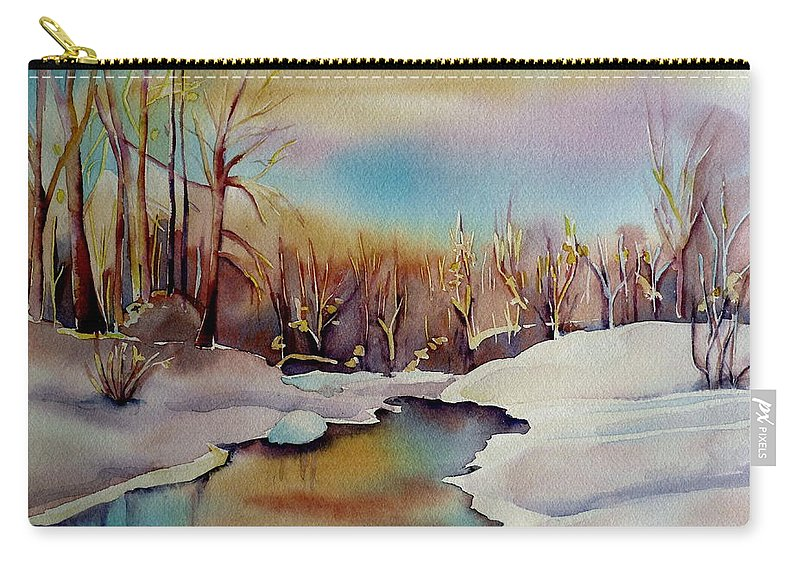 Winterscene Carry-all Pouch featuring the painting Snowfall by Carole Spandau