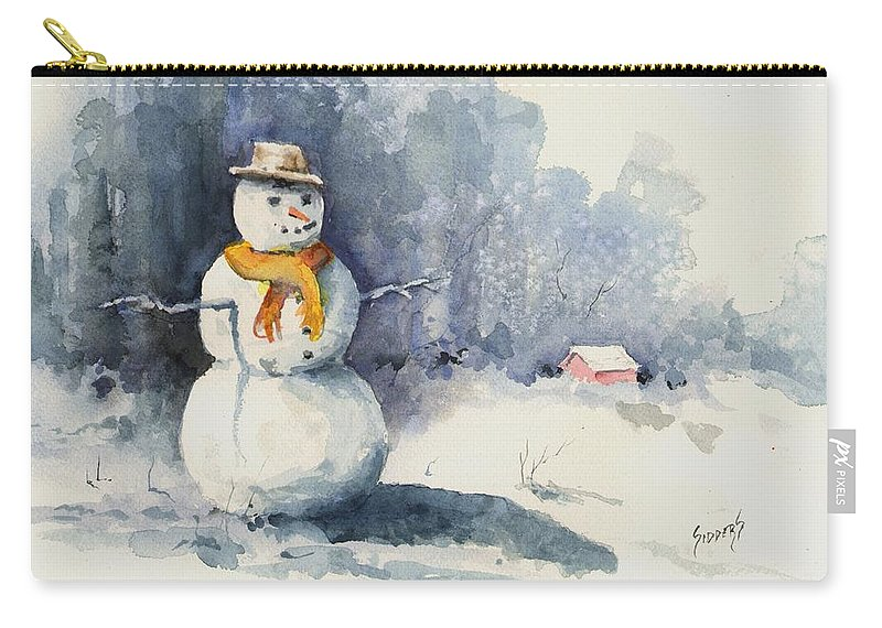Snow Carry-all Pouch featuring the painting Snowman by Sam Sidders