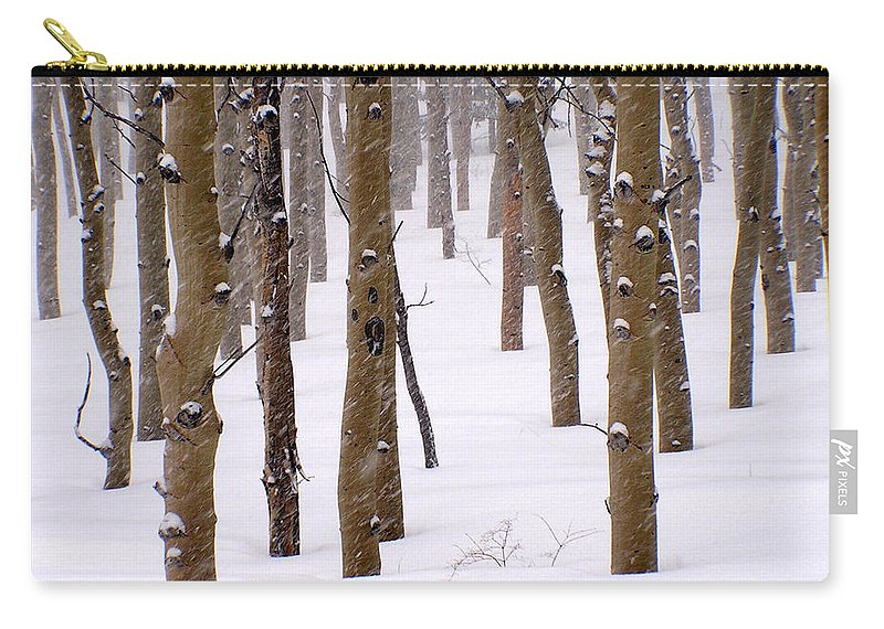 Aspen Carry-all Pouch featuring the photograph Snowy Aspen by Carol Milisen
