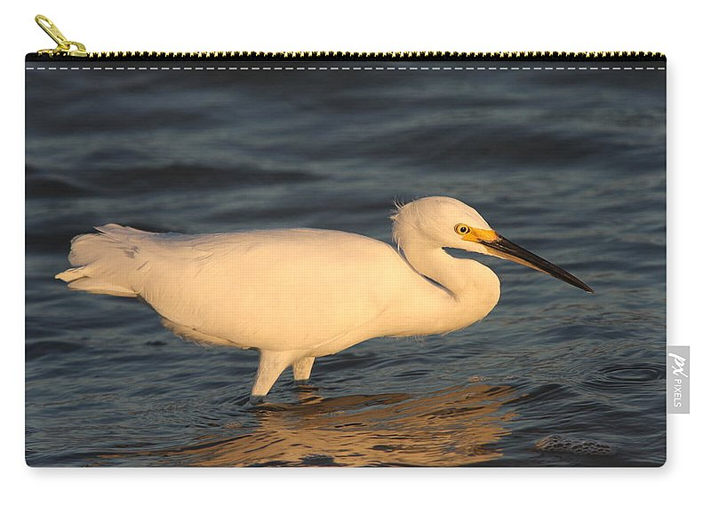 Egret Carry-all Pouch featuring the photograph Snowy Egret By Sunset by Christiane Schulze Art And Photography