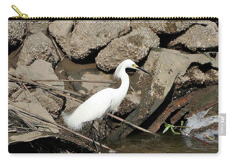 Snowy Egret Carry-all Pouch featuring the photograph Snowy Egret Fishing by Al Powell Photography USA