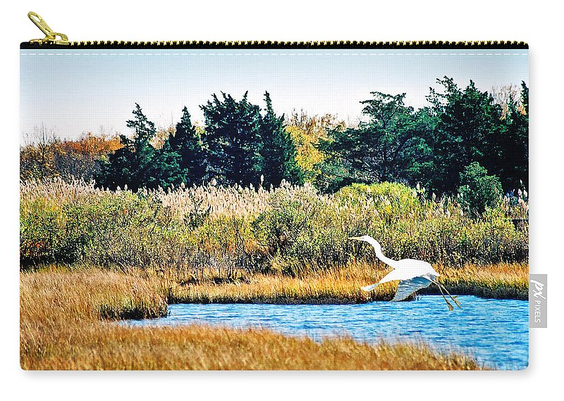 Landscape Carry-all Pouch featuring the photograph Snowy Egret-island Beach State Park N.j. by Steve Karol