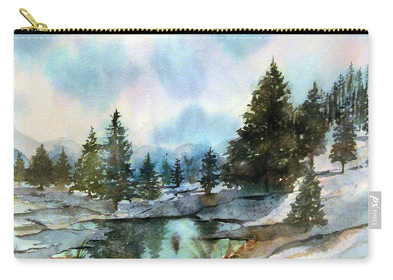 Watercolor Carry-all Pouch featuring the painting Snowy Lake Reflections by Debbie Lewis