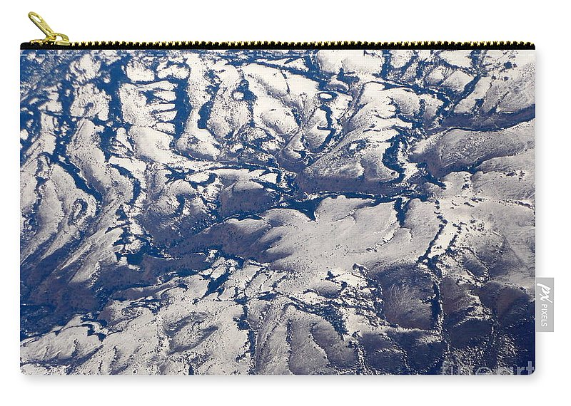 Aerial Carry-all Pouch featuring the photograph Snowy Landscape Aerial by Carol Groenen