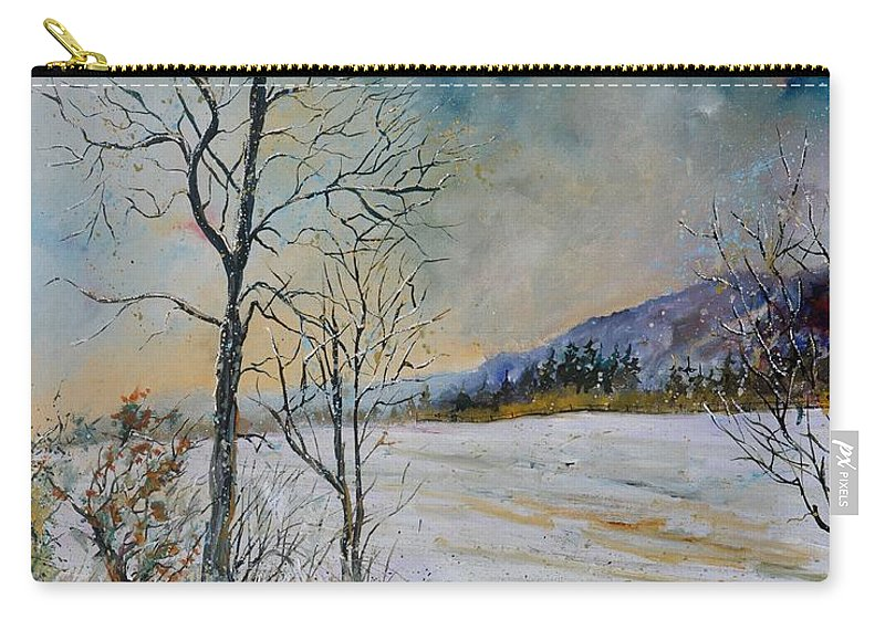 Landscape Carry-all Pouch featuring the painting Snowy landscape by Pol Ledent
