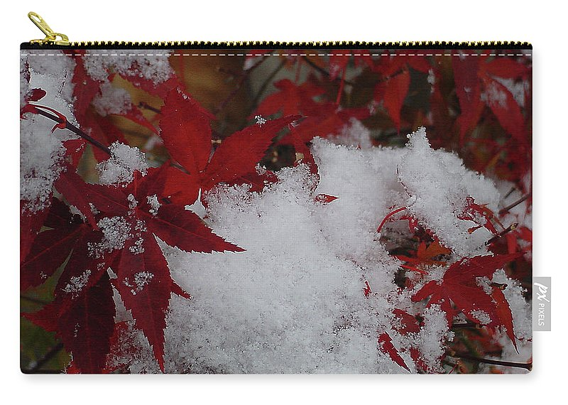 Red Carry-all Pouch featuring the photograph Snowy Red Maple by Shirley Heyn