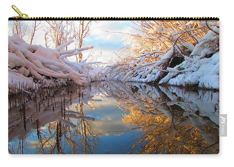 Snow Carry-all Pouch featuring the photograph Snowy Refections by Carol Dyer