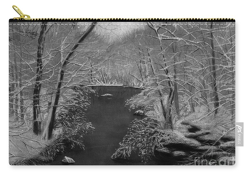 Black And White Carry-all Pouch featuring the painting Snowy River by Lynn Quinn