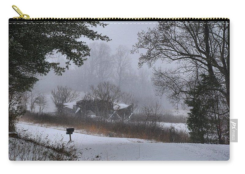 Snow Carry-all Pouch featuring the photograph Snowy Road 2 by Kathryn Meyer