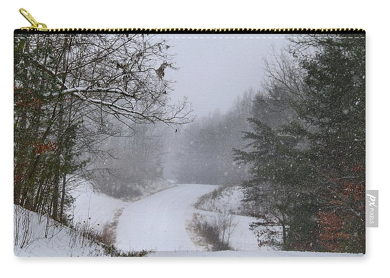 Snow Carry-all Pouch featuring the photograph Snowy Road by Kathryn Meyer