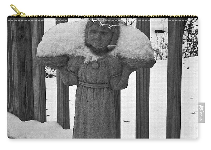 Statues Carry-all Pouch featuring the photograph Snowy Statue by David Campbell
