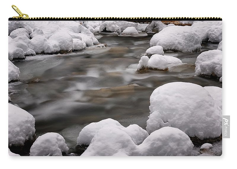 Stickney Brook Carry-all Pouch featuring the photograph Snowy Stickney Brook by Tom Singleton