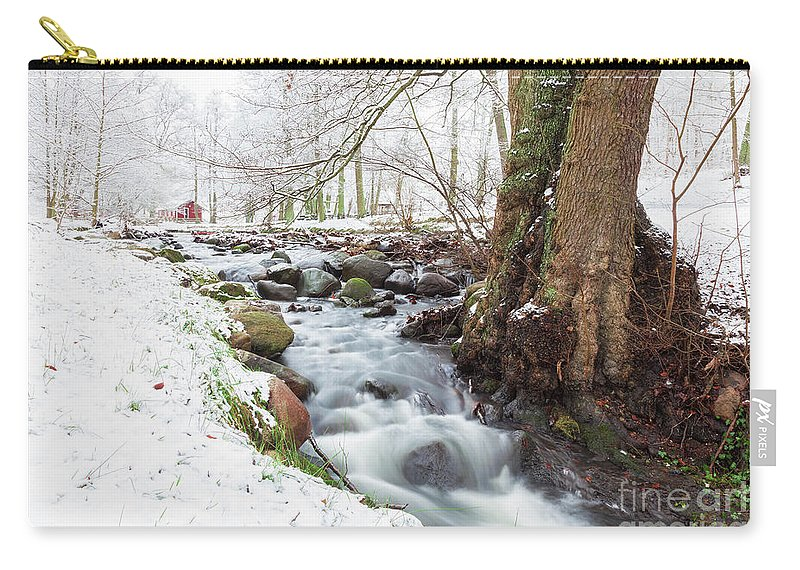 Helsingborg Carry-all Pouch featuring the photograph Snowy Stream Landscape by Sophie McAulay