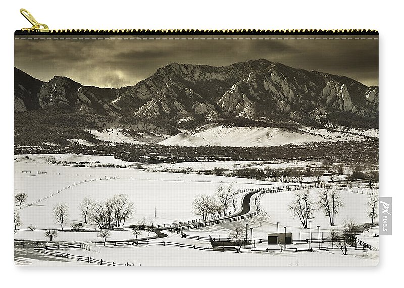 Boulder Carry-all Pouch featuring the photograph Snowy Sunset by Marilyn Hunt