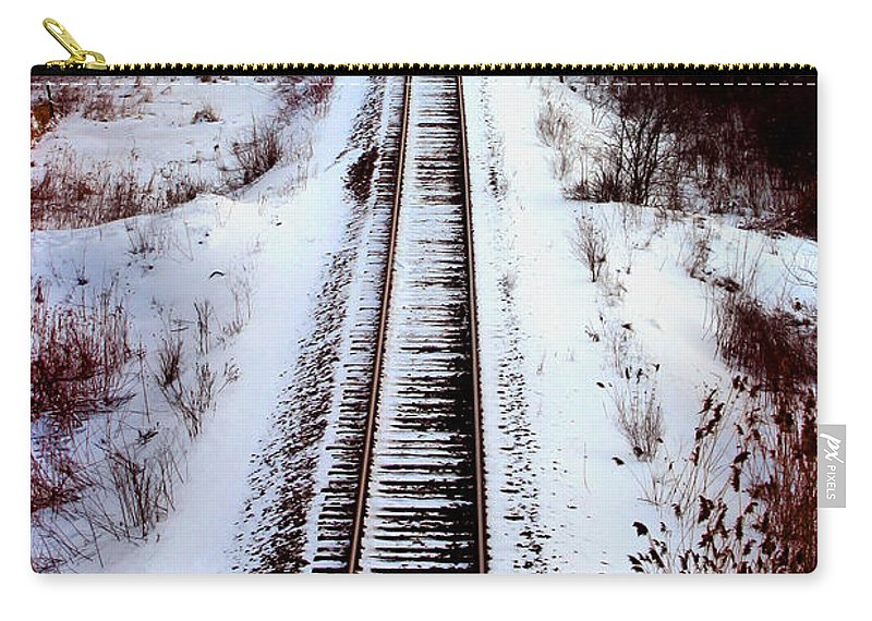 Train Tracks Carry-all Pouch featuring the photograph Snowy Train Tracks by Anthony Jones