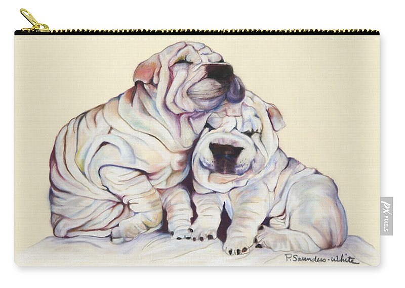 Dog Painting Carry-all Pouch featuring the pastel Snuggles by Pat Saunders-White