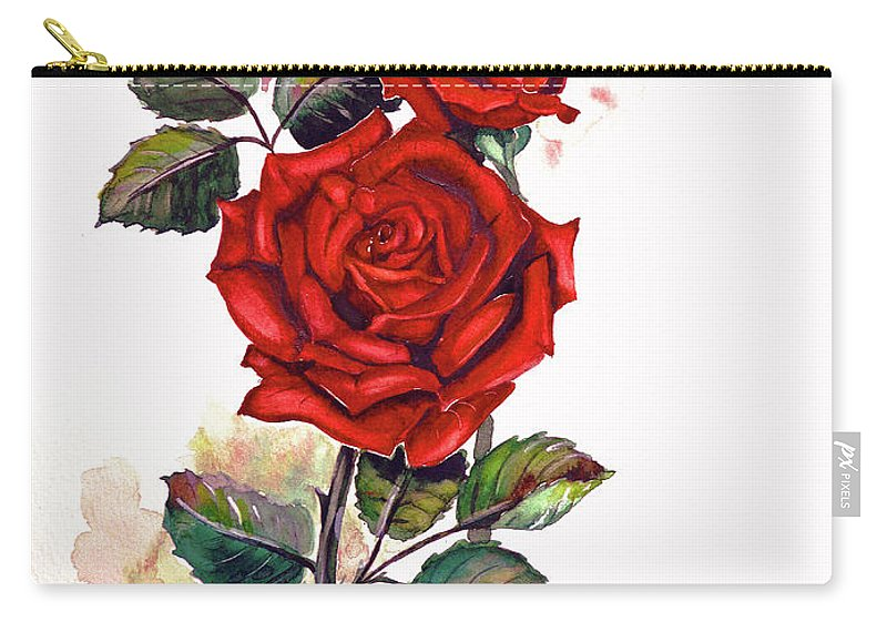 Red Rose Paintings Carry-all Pouch featuring the painting So Red by Karin Dawn Kelshall- Best