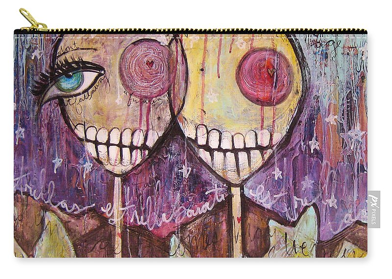 Skulls Carry-all Pouch featuring the painting So This Is The New Year Estrellas And All by Laurie Maves ART