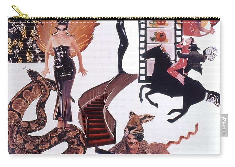 Boa Carry-all Pouch featuring the drawing Soap Scene #22 Lust In The Wind by Minaz Jantz