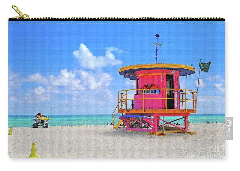 Sobe Carry-all Pouch featuring the photograph Sobe Lifeguard by Jost Houk