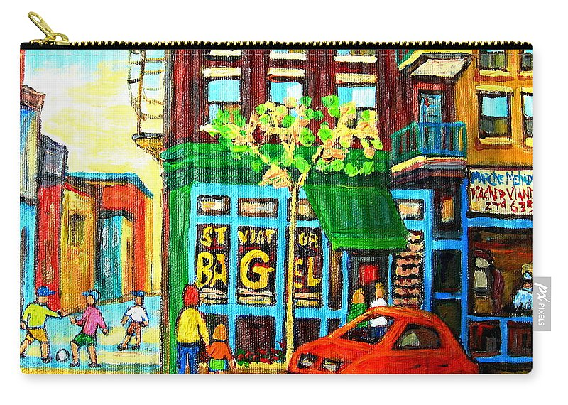 St Viateur Bagel Shop Montreal Street Scenes Carry-all Pouch featuring the painting Soccer Game At The Bagel Shop by Carole Spandau