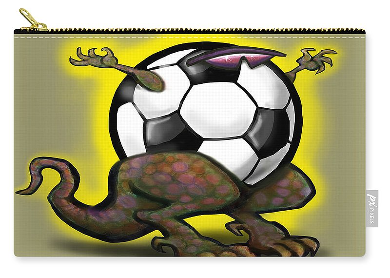 Soccer Carry-all Pouch featuring the digital art Soccer Saurus Rex by Kevin Middleton