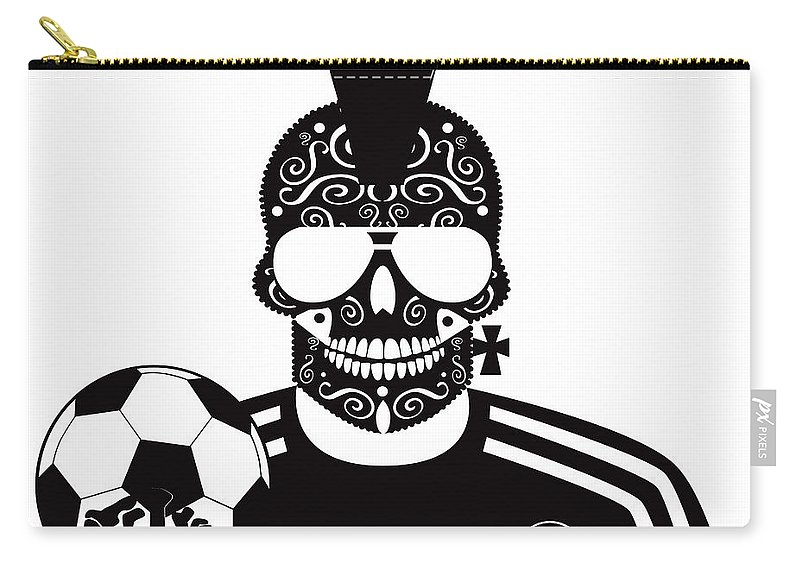 Backgrounds Carry-all Pouch featuring the digital art Soccer Skull Icon Background With Sunglasses And Ball. by Tea Brncic