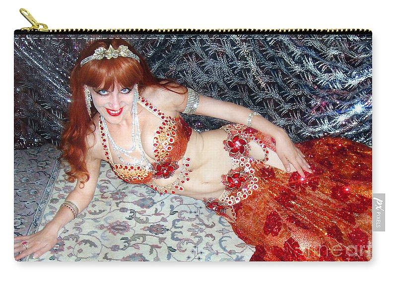 Sofia Carry-all Pouch featuring the photograph Sofia Metal Queen. Ameynra Bellydance Star Model by Sofia Metal Queen