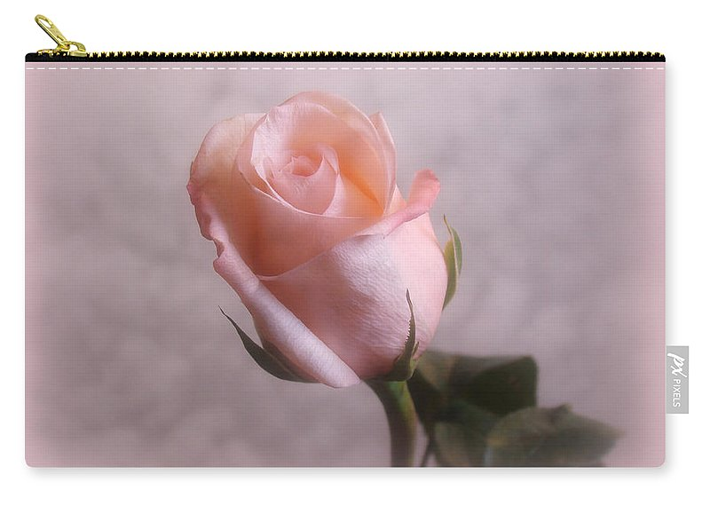 Flowers Carry-all Pouch featuring the digital art Soft Pink Rose by Sandy Keeton