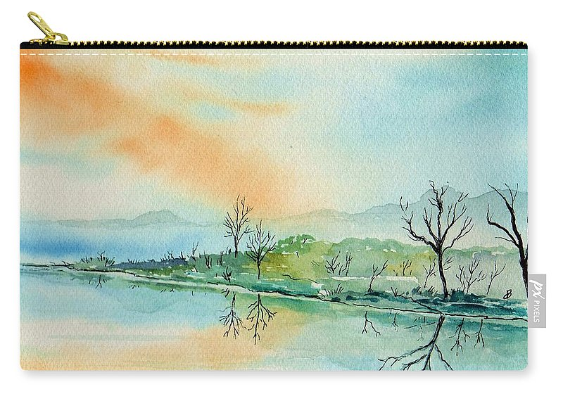 Landscape Carry-all Pouch featuring the painting Soft Reflections by Brenda Owen