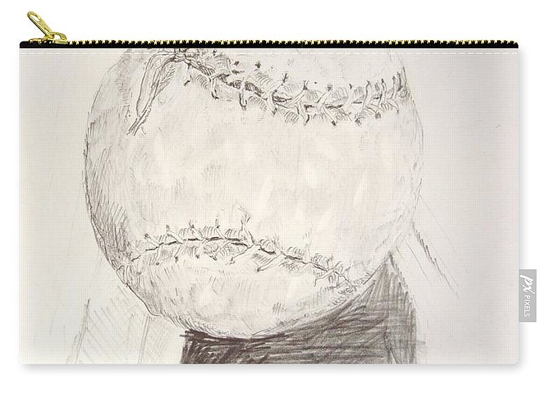Onion Carry-all Pouch featuring the drawing Softball by Ron Bissett