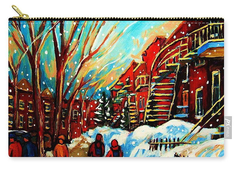 Montreal Carry-all Pouch featuring the painting Softly Snowing by Carole Spandau