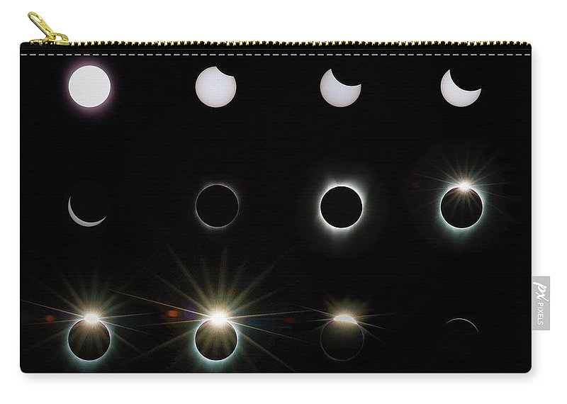 Solar Eclipse Carry-all Pouch featuring the photograph Solar Eclipse Sequence 2017 by Doug LaRue