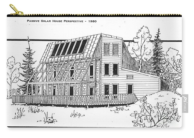 Sketch Carry-all Pouch featuring the drawing Solar House by Ron Bissett