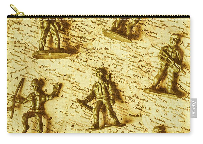Toy Carry-all Pouch featuring the photograph Soldiers And Battle Maps by Jorgo Photography - Wall Art Gallery