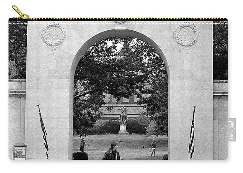 Brown University Carry-all Pouch featuring the photograph Soldiers Memorial Gate, Brown University, 1972 by Jeremy Butler