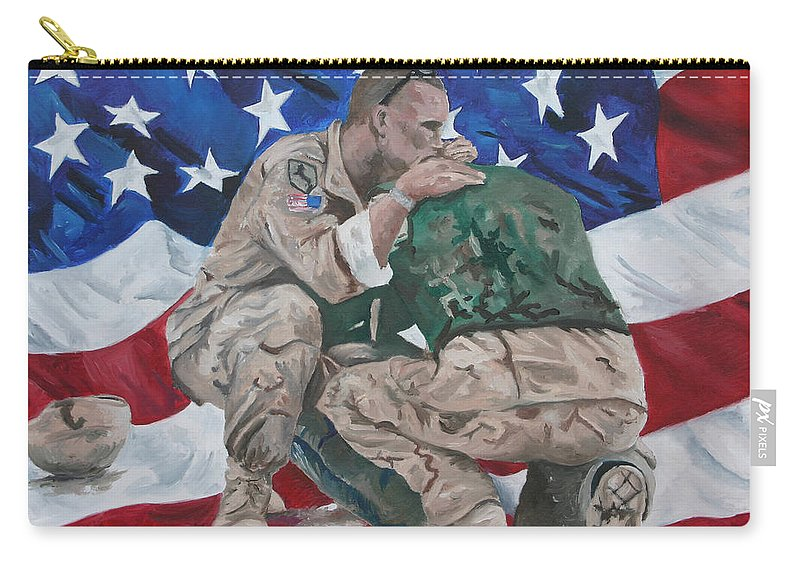 Soldiers Carry-all Pouch featuring the painting Soldiers by Travis Day