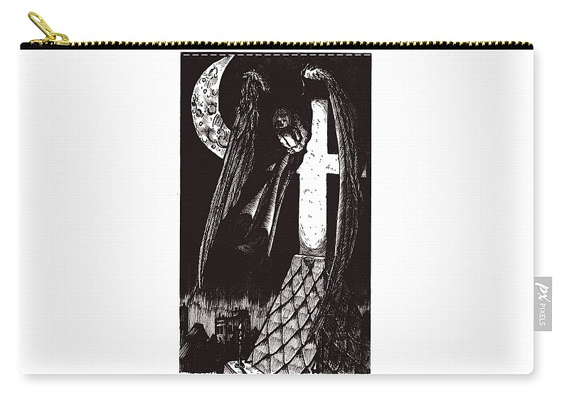 Angel Carry-all Pouch featuring the drawing Solemn Vigil by Tobey Anderson
