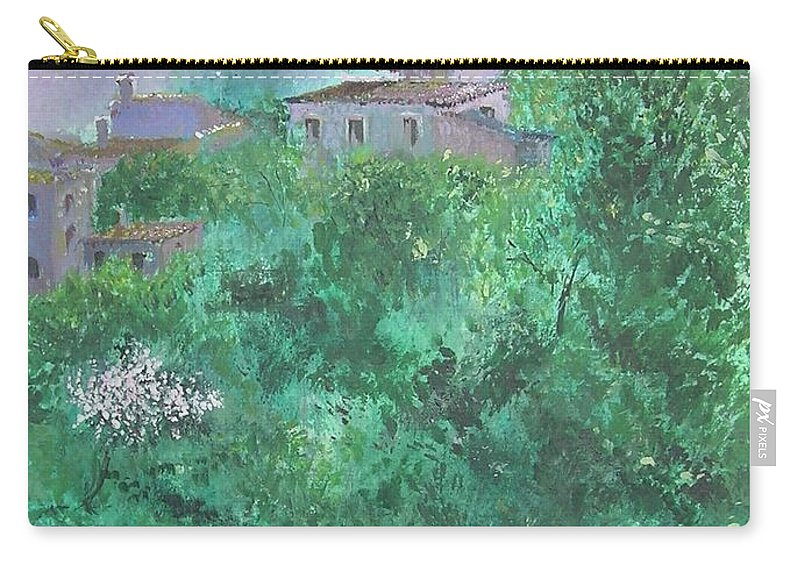 Impressionist Carry-all Pouch featuring the painting Solitary Almond Tree In Blossom Mallorcan Valley by Lizzy Forrester