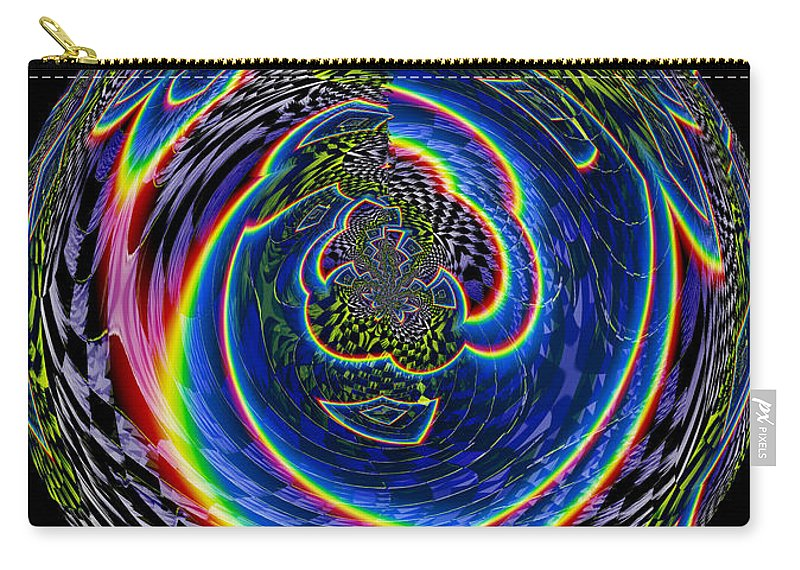 Abstract Rainbow Checkerboard Design Cool Effects Digital 70s Velvet Weird Prism Carry-all Pouch featuring the digital art Solitary by Andrea Lawrence