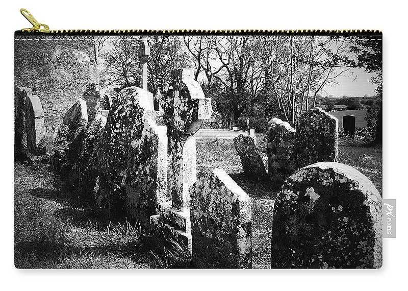 Ireland Carry-all Pouch featuring the photograph Solitary Cross At Fuerty Cemetery Roscommon Irenand by Teresa Mucha