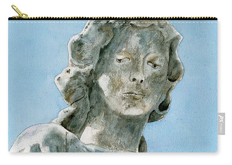Portrait Watercolor Cemetery Statue Sky Woman Carry-all Pouch featuring the painting Solitude. A Cemetery Statue by Brenda Owen
