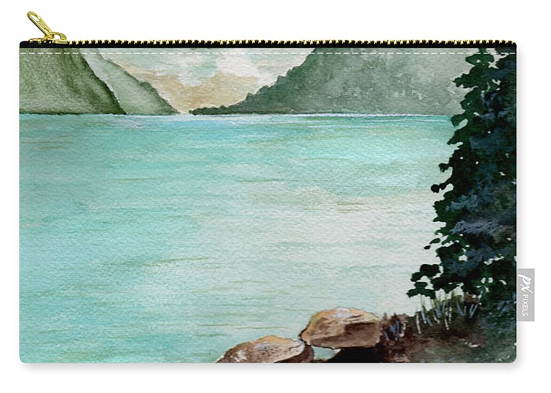 Watercolor Carry-all Pouch featuring the painting Solitude Of The Lake by Brenda Owen